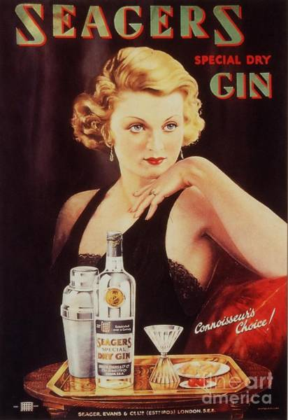 Nineteen-thirties Wall Art - Drawing - Seagers 1930s Uk Glamour Gin  Cocktails by The Advertising Archives