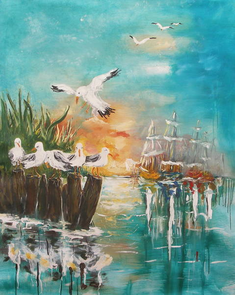 Painting - Seagull At Rest by Miroslaw  Chelchowski