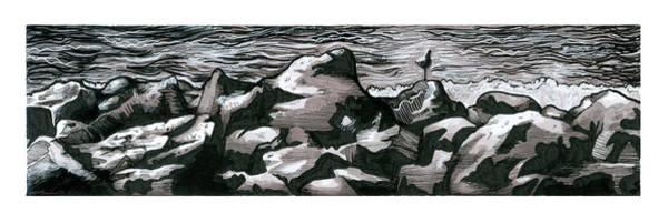 Inking Painting - Seagull Shore by Elizabeth Aubuchon