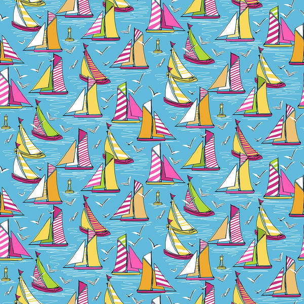 Wall Art - Drawing - Seagulls And Sails Springtime by MGL Meiklejohn Graphics Licensing