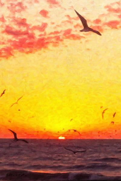 Painting - Seagulls by Lars Lentz