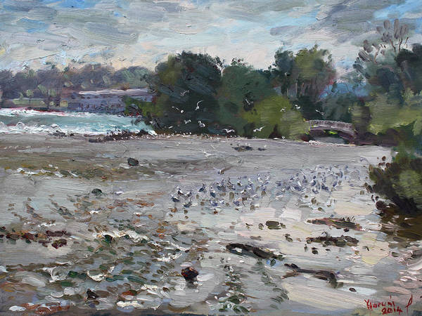 Wall Art - Painting - Seagulls On Niagara River by Ylli Haruni