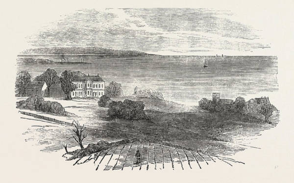 Old Style Drawing - Seaham Hall, And Old Church by English School