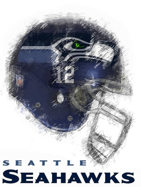 Seattle Digital Art - Seahawks 12 by Daniel Hagerman