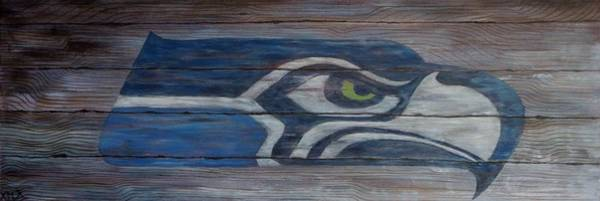 Presents Painting - Seahawks by Xochi Hughes Madera