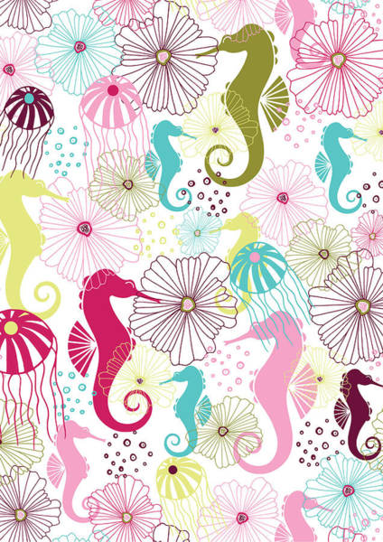 Sealife Wall Art - Photograph - Seahorse Flora by MGL Meiklejohn Graphics Licensing