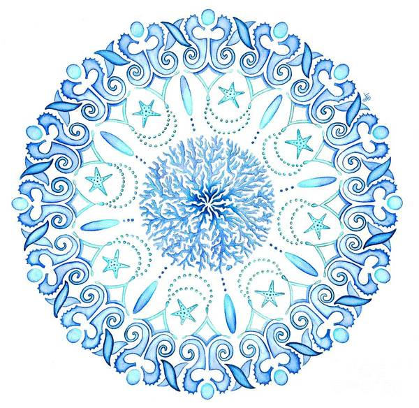 Circle Painting - Seahorse Mandala by Stephanie Troxell