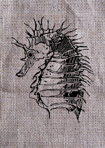 Digital Art - Seahorse On Burlap by Konni Jensen