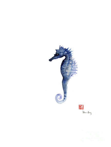 Gift Shops Painting - Seahorse Sea Horse Blue Fish Water Colors Collection Fishes Watercolor Painting by Johana Szmerdt
