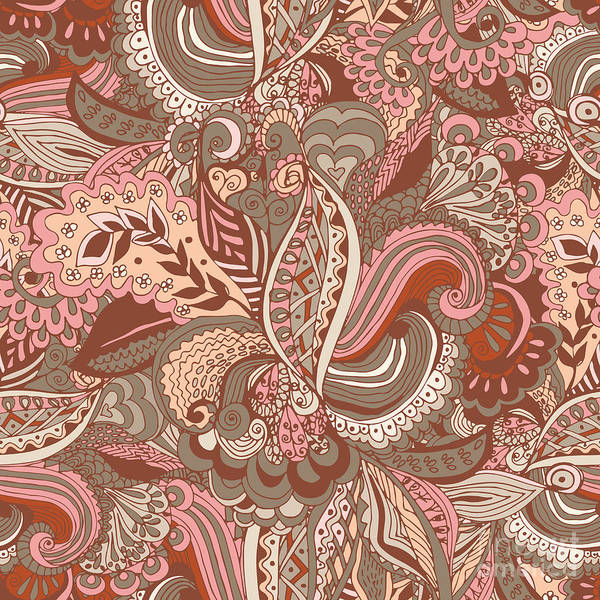 Chocolate Digital Art - Seamless Abstract Hand-drawn Floral by Radugaart