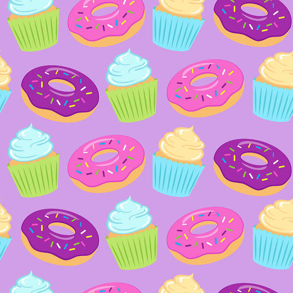 Cake Digital Art - Seamless Colorful Pattern With Donuts by Ekaterina Bedoeva
