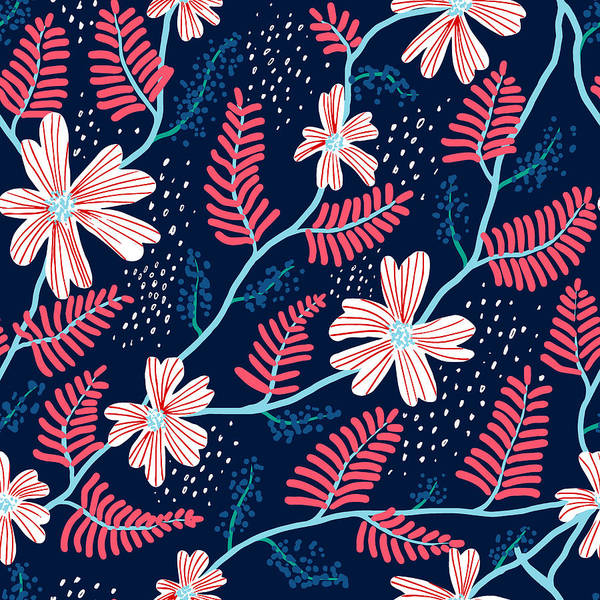 Archival Digital Art - Seamless Floral Pattern by Flovie