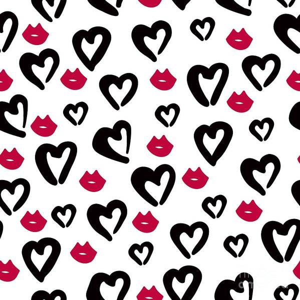 Wall Art - Digital Art - Seamless Pattern Of Black Hearts And by Wewhitelist
