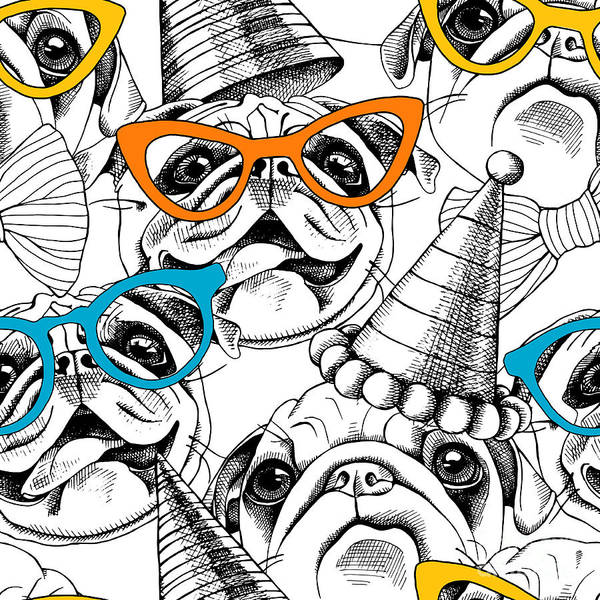 Cool Digital Art - Seamless Pattern With Image Of A Pug In by Afishka