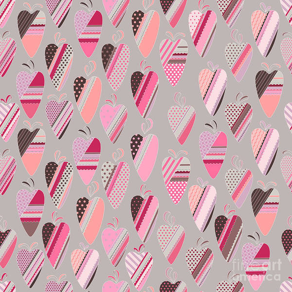 Valentines Digital Art - Seamless Pattern With  Vintage Tilda by Anna Tyukhmeneva