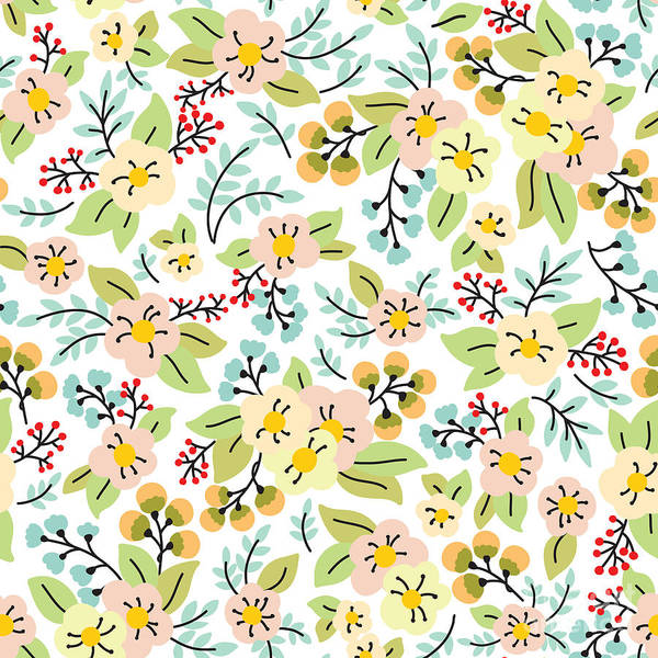 Blooms Digital Art - Seamless Pattern With Yellow And Pink by Maria galybina