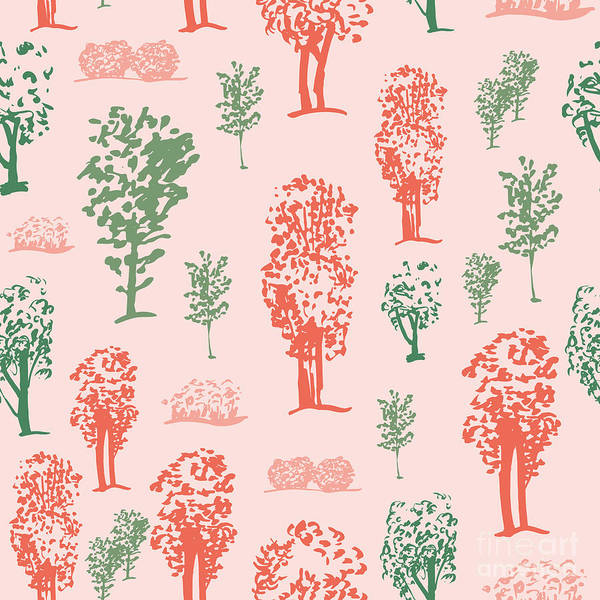Plant Digital Art - Seamless Tree Pattern, Deciduous Trees by Zzorna
