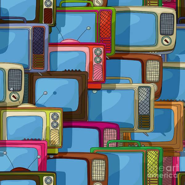 Crt Digital Art - Seamless Tv Pattern by Richard Laschon