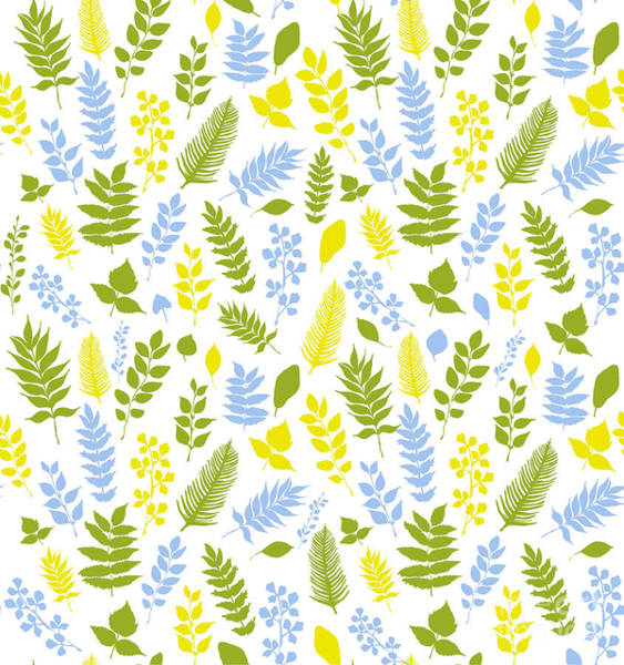 Leaf Digital Art - Seamless Vector Pattern With Blue by Anna Ivanir