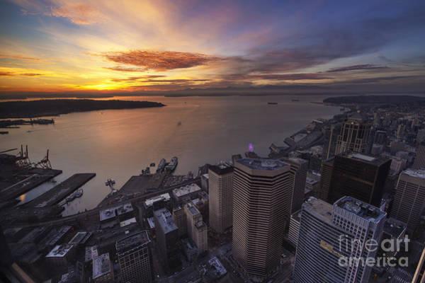 Elliott Photograph - Searing Skies Above Seattle by Mike Reid