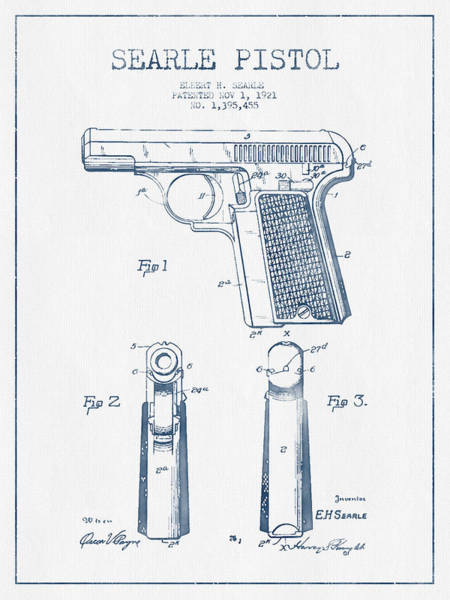 Weapons Digital Art - Searle Pistol Patent Drawing From 1921 -  Blue Ink by Aged Pixel