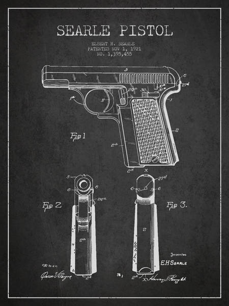 Shooting Digital Art - Searle Pistol Patent Drawing From 1921 - Dark by Aged Pixel