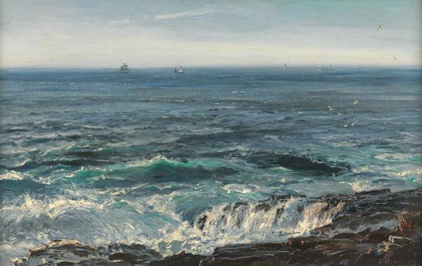 Rocky Coast Painting - Seascape 1877 by Henry Moore