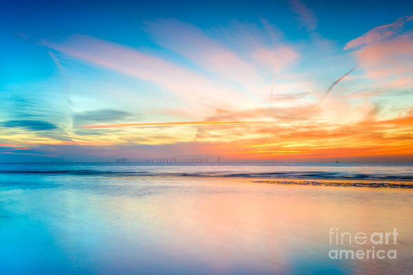 Wind Farm Photograph - Seascape Sunset by Adrian Evans