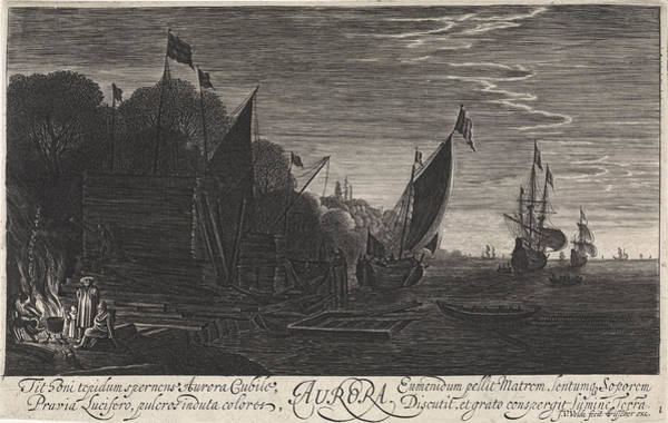 Twilight Drawing - Seascape With Ships Dawn, Jan Van De Velde II by Jan Van De Velde (ii) And Claes Jansz. Visscher (ii)