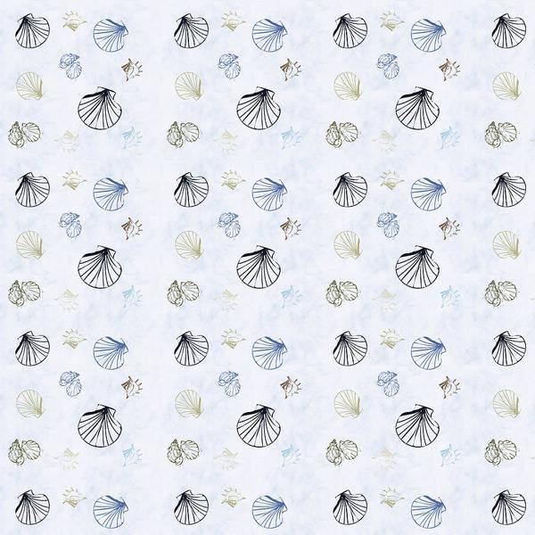Beach Cottage Wall Art - Mixed Media - Seashell Pattern by Christina Rollo