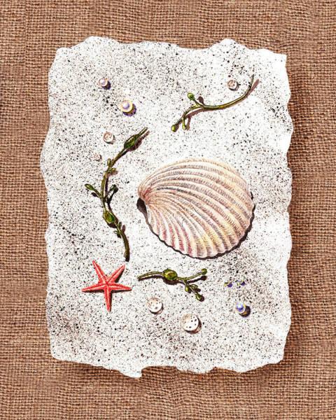 Wall Art - Painting - Seashell With Pearls Sea Star And Seaweed  by Irina Sztukowski