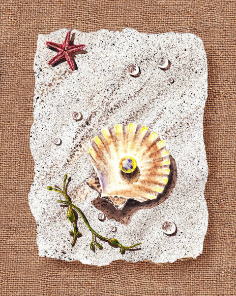 Painting - Seashell With The Pearl Sea Star And Seaweed  by Irina Sztukowski