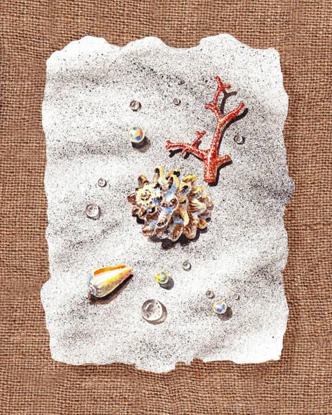 Wall Art - Painting - Seashells Coral Pearls And Water  Drops by Irina Sztukowski