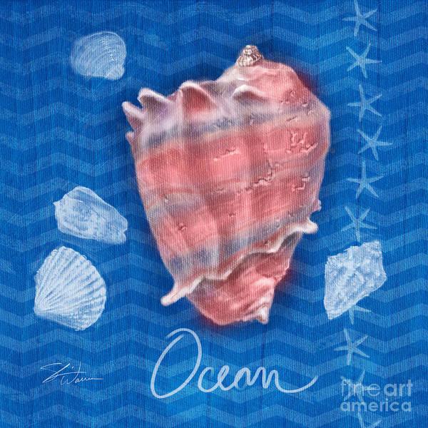 Mixed Media - Seashells On Blue-ocean by Shari Warren