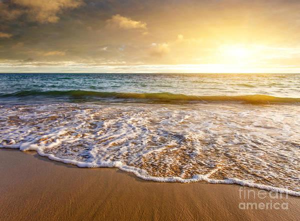 Wet Sand Photograph - Seashore Sunset by Carlos Caetano
