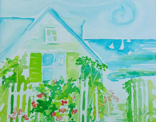 Impressionistic Sailboats Painting - Seaside Cottage by Jill Morris