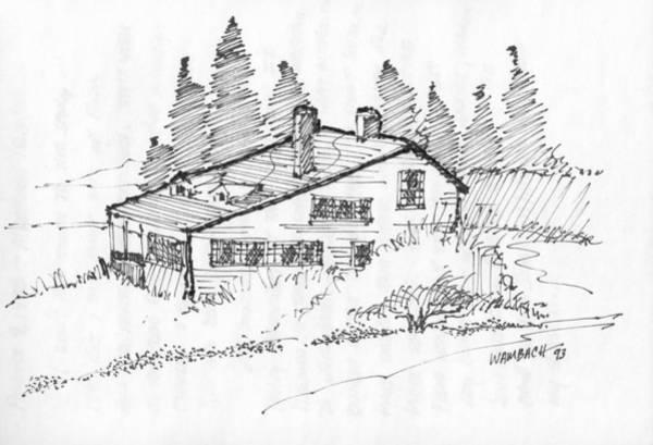 Drawing - Seaside Cottage Monhegan Island 1993 by Richard Wambach