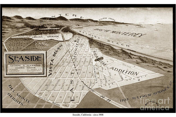 Photograph - Seaside Map And Monterey Bay California  Circa 1908 by California Views Archives Mr Pat Hathaway Archives