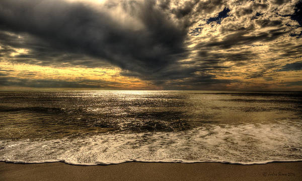Seaside Sundown With Dramatic Sky Art Print