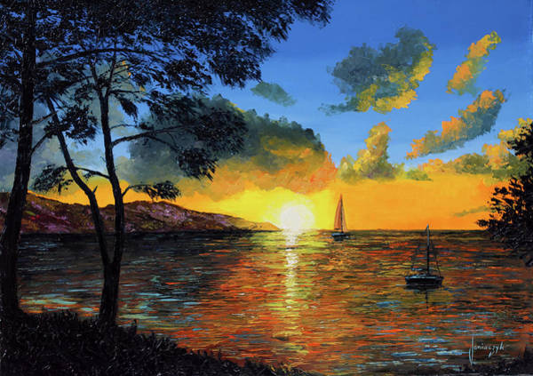Wall Art - Painting - Seaside Sunset by MGL Meiklejohn Graphics Licensing