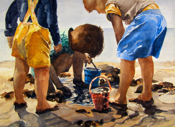 Treasure Hunt Wall Art - Painting - Seaside Treasure Hunt by Carolyn Toshach
