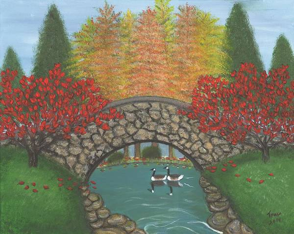 Mate For Life Painting - Season For Fall Autumn Red Dogwood Trees Canadian Geese Under Arched Bridge To Take In The Beauty by Teresa French McCarthy