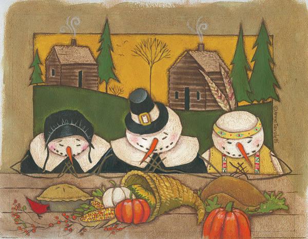 Thanksgiving Wall Art - Painting - Seasonal Snowman Xi by Anne Tavoletti