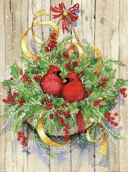 Yellow Ribbon Painting - Seasons Greetings by Kathleen Parr Mckenna