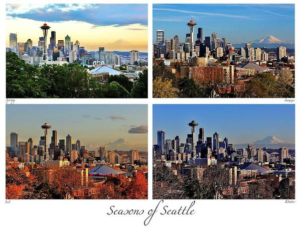 Wall Art - Photograph - Seasons Of Seattle White With Titles And Labels by Benjamin Yeager