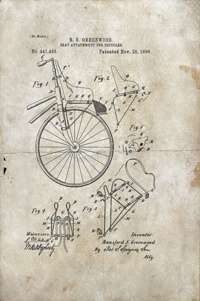 Digital Art - Seat Attachment For Bicycles Patent 1890 by Paulette B Wright
