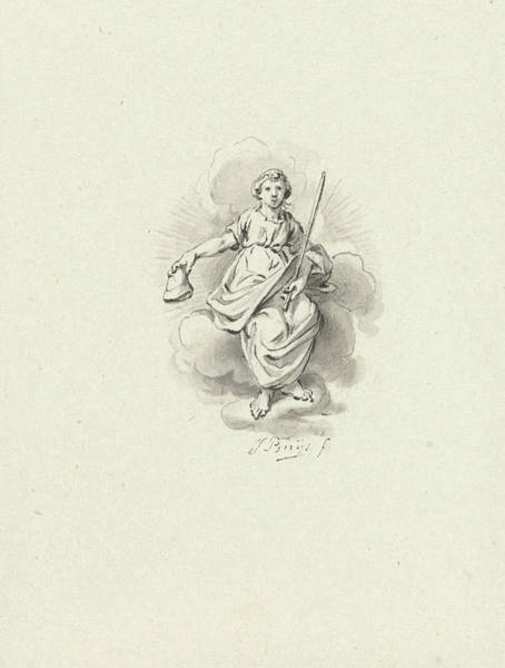 Allegorical Figure Drawing - Seated Allegorical Female Figure In The Clouds by Quint Lox