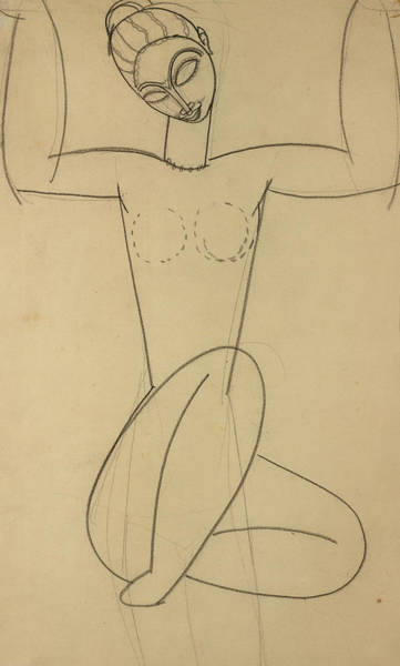 Line Drawing Painting - Seated Caryatid by Amedeo Modigliani
