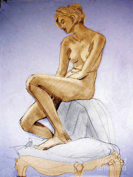 Drawing - Tinted Figure Drawing Of A Seated Female Nude Dreaming by Greta Corens