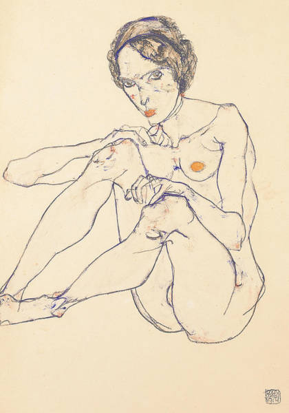 Painting - Seated Female Nude by Egon Schiele